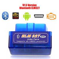 NEW Mini ELM327 V1.5 OBD2 II Bluetooth Diagnostic Car Auto Interface Scanner GH