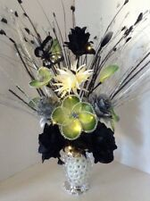 Artificial Flowers Cream Glitter Nylon Green In Silver Sparkle Vase Lights Up