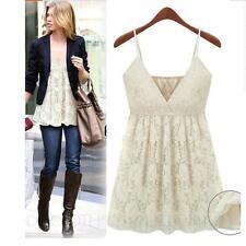Lace V Neck Regular Size Sleeveless Tops & Shirts for Women