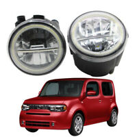 LED Fog Light + Angel Eye Rings Daytime Running Lights DRL Fit For Nissan Cube