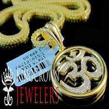 Mens Ladies Real Diamond OM Symbol Hindu Pendant Charm Chain Set 10K Gold Finish