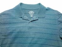 St John's Bay Men's Long Sleeve Shirt Size L Cotton Polo Gray Striped