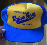 Vintage 1989 Native Sons Softball Trucker Hat Dad Cap Pleasanton CA USA SNAPBACK