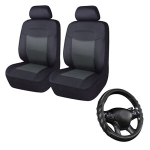 Car Seat Covers Leather Universal Set & Steering Wheel Cover Leather Grey Black