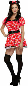 Womens Minnie Mouse Costume Fancy Dress Red Adult Halloween Outfit Size UK8-16