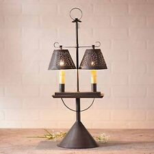 Double Adjustable Country Table Lamp w/ Shades in Blackened Tin