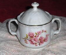 Vtg ARPO Porcelain Sugar Bowl & Lid Romania Pink Roses Gold Trim Trinket Box