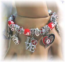 """Alabama Crimson Tide Handmade NCAA Football Charm Bracelet 7 1/2"""" Adjustable*"""