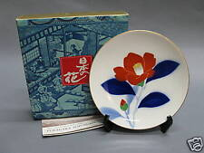 Fukagawa Porcelain Decorative Plate w Stand - Camellia