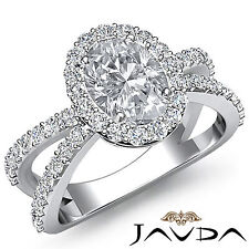 Oval Diamond Split Dhank Double Band Engagement Ring GIA H SI1 Platinum 1.75 ct