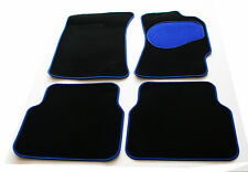 Toyota Previa 8 Seater MPV 00-05 Black Carpet Car Mats - Blue Trim & Heel Pad