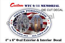 WTC 9-11 New York 9/11 Memorial Decal Custom Never US 6 x 4 Decals WTC 911