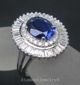 Solid 18K White Gold Natural Blue Ceylon Sapphire Diamond Engagement Ring
