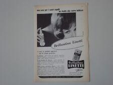advertising Pubblicità 1962 BRILLANTINA LINETTI