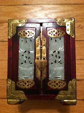 Vintage JEWELRY BOX Southeast Asian Chinese China JADE BRASS & ROSEWOOD