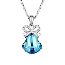 18K White Gold Plated Made With Swarovski Crystal Bow-Knot Shell Necklace