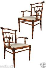 PAIR ENGLISH REGENCY STYLE HAND CARVED & ANTIQUED FAUX FEMALE BAMBOO ARM CHAIRS