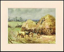 BLOODHOUND DOGS TRACK MAN IN RURAL SCENE LOVELY DOG PRINT MOUNTED READY TO FRAME