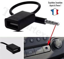 Câble Jack 3.5mm Stéréo Audio Prise Mâle Vers USB 2.0 Femelle Adaptateur - NOIR
