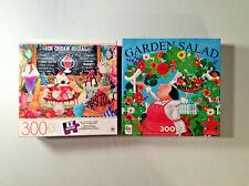 Lot of 2 Ceaco & Mb 300 piece puzzles - Garden Salad & Ice Cream Social