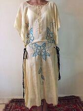 Stunning Vintage Antique 20s 30s Embroidered Caftan Slip Dress Rare