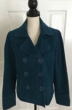 AMERICAN EAGLE 100% Cotton Teal Peacoat Jacket Women's Size Large Cotton Lined