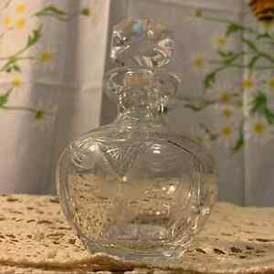 Vintage etched crystal bohemian glass bottle