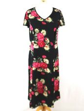 Charmant Black Floral Occasion Dress 14 Petite Rose Shift Cap Sleeve V Neck Part