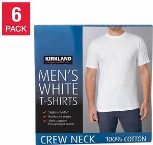 6-Pack Men's T-Shirts PREMIUM White 100% Cotton  M L XL KIRKLAND Short Sleeve