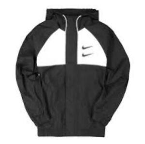 Nike Sportswear Swoosh Hooded Woven Black / White CJ4888-011 med