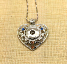 NEW Pierced Heart Alloy Pendant for Fit Noosa Necklace Snap Chunk Button #R32