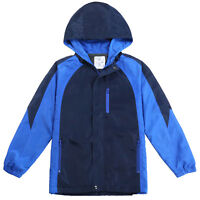Beautiful Giant Men's Zipper Hooded Fleece Lined Windbreaker Outdoor Jacket Navy