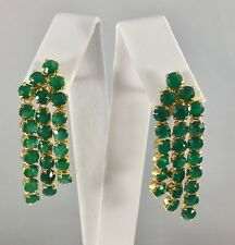"Genuine Green Chalcedony  Cascade Dangle Earrings 18kt Gold Overlay, 2"" New"