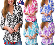 Women Floral 3/4 Sleeve Shirt V Neck Tops Casual Loose Blouse Totems Printed Tee