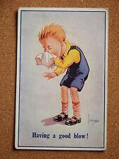 R&L Postcard: JL Biggar, ETW Dennis, Boy Blowing Nose