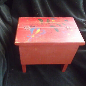 Vintage Red Painted Wood Step Stool Storage Box 11 x 11 x 7 Inches