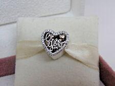 Sale! New w/Box Pandora Love Script Heart w/14K & CZ's Charm 792037CZ