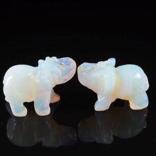 Hand Carved Elephant Crystal Opal Jade Animal Figurine Gemstone Statue 3.8cm