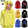 Pokemon Go Pikachu Womens Hoodie Sweatshirt Costumes Hooded Coat Jacket Hoodies