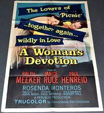 A WOMAN'S DEVOTION 1956 ORIGINAL 27x41 MOVIE POSTER! SEXY JANICE RULE FILM NOIR!