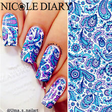 Nail Art Water Decal Transfer Sticker Blue Flowers Manicure Tips ND-23