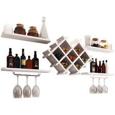 Wall Mount Wine Rack Set Storage Shelves Bottle Holder Wine Glass Hanger White