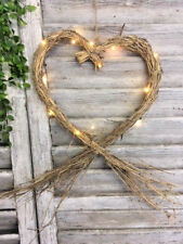 Large Rustic Heart Straw Wreath Hanging Wedding Decoration with Fairy Lights