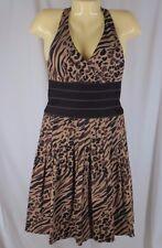 Kay Unger Small Size 4 Summer Dress Animal Print Halter Zebra Leopard