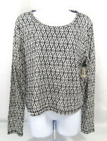 Aeropostale Women's blouse Size Large long sleeves black white crop top