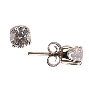 Sterling Silver Stud Earring AAAA+ Round Solitaire Diamond 10K White Gold Plated