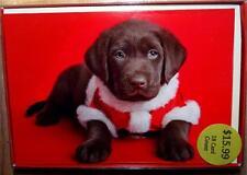 Chocolate Labrador Puppy Dog Santa Christmas Cards