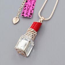 Betsey Johnson Red Lipstick Crystal Enamel Pendant Sweater Chain Women Necklace