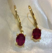 2.25 Ct, African, Ruby Earrings, Lever Back, Drop, 14K Gold Over Sterling Silver