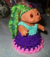 DAM TODDLER TROLL 3 inch crochet dress panties doll baby ooak yarn hair soft vyn